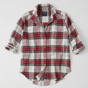 Red, Green, and White Christmas Plaid Button Down